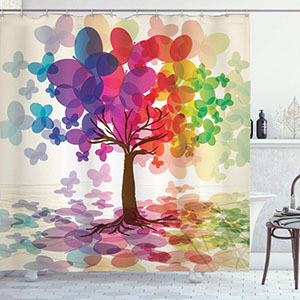 Ambesonne Watercolor Flower Home Decor Shower Curtain