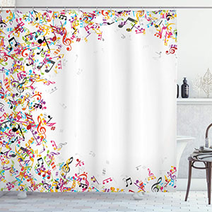 Ambesonne Music Decor Shower Curtain Set