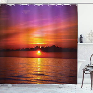 Ambesonne Ocean Shower Curtain, Romantic Sunset on The Beach