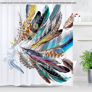 BLEUM CADE Colorful Feather Shower Curtain Bathroom Shower Curtain