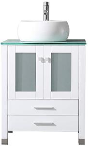 Bathjoy 24 Ceramic Sink, Vanity Set With Mirror