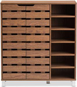 Baxton Studio Eloise Modern & Contemporary Beech Wood 2 Door Shoe Cabinet