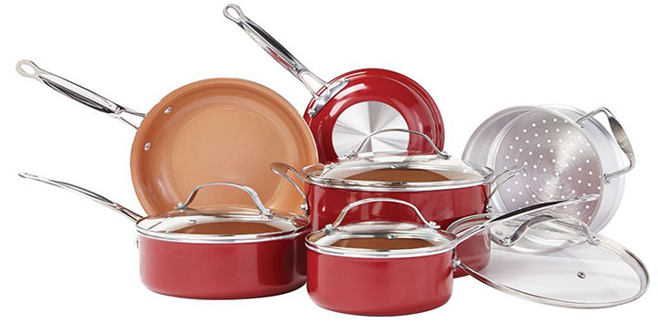 BulbHead Red Copper Copper-Infused Ceramic Cookware