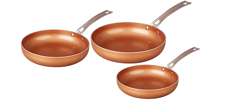 CONCORD 3 Piece Ceramic Coated -Copper- Frying Pan Cookware Set