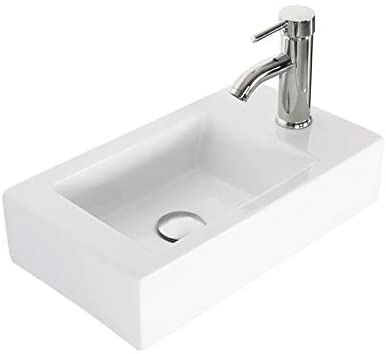 Eclife Wall Mount White Ceramic Sink