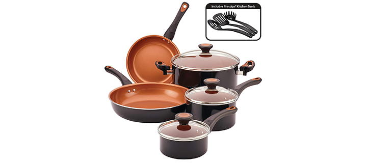 Farberware Glide Copper Ceramic Nonstick Cookware Set