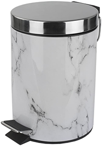 Home Basics White Faux Marble Bathroom Wastebasket