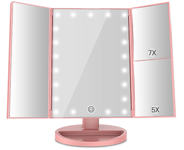 MayBeau Tri-fold Countertop Lighted Makeup Mirror