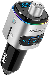 Nulaxy Bluetooth FM Transmitter for Car 7 Color LED Backlit