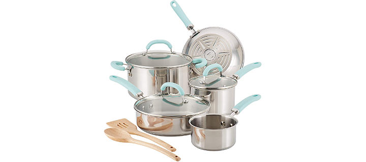 Rachael Ray Create Delicious Stainless Steel Pots and Pans Cookware Set