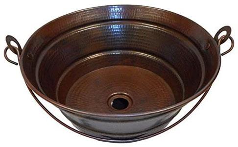 Rustic Round Copper BUCKET Vessel Bath Sink