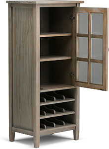 Simpli Home AXWSH008 Warm Shaker Wine Rack Cabinet