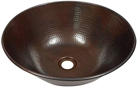 SimplyCopper Rustic 14 Round Mexican Copper Vessel