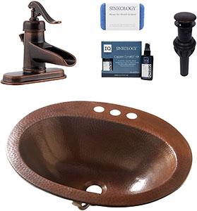 Sinkology Seville Copper Drop-in Bath Sink with Overflow