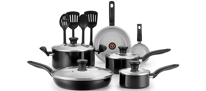 T-fal Initiatives Ceramic Nonstick Dishwasher Safe Toxic-Free 14-Piece Cookware Set