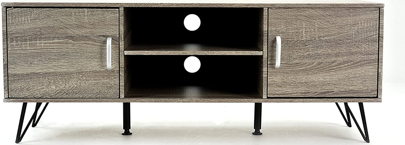 Weathered Grey Oak Finish TV Cabinet