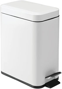 mDesign 5 Liter Rectangular Small Steel Step Trash Can