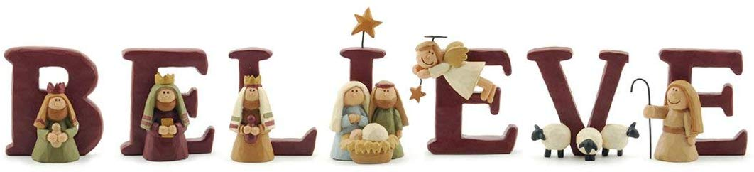 B-E-L-I-E-V-E Nativity Resin Christmas Decoration Set