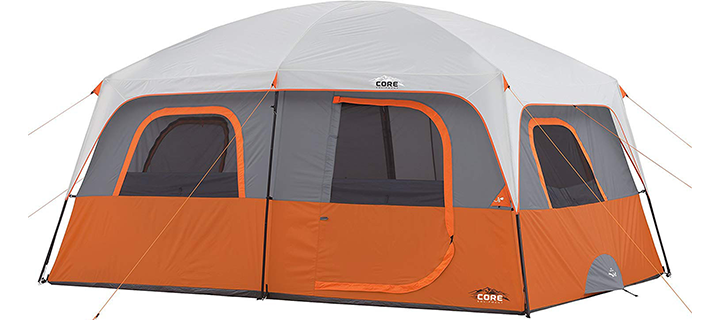 CORE Straight Wall 10 Person Deluxe Family Tent