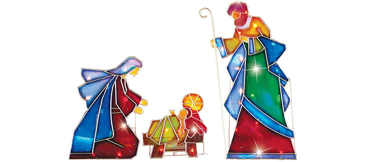 Collections Etc Lighted Outdoor Mosaic Nativity Christmas Scene
