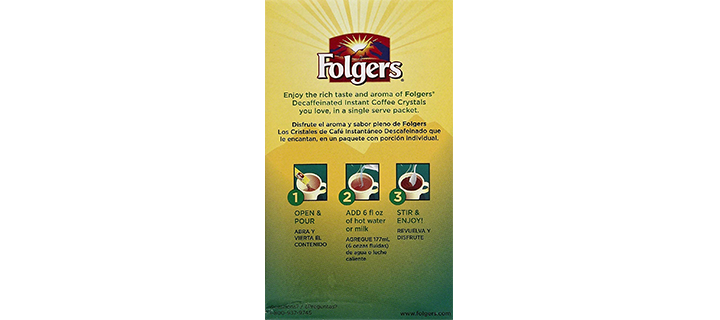 Folgers Classic Decaf Instant Coffee Crystals Packets
