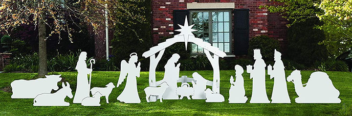 Front Yard Originals Complete Large White Outdoor Nativity Scene