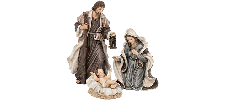 Holy Family 3-Piece 6″ Resin Stoneware Nativity Set