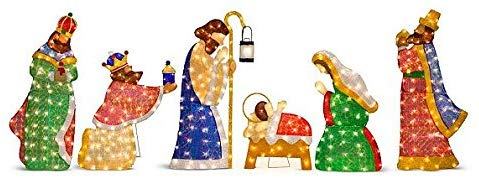 Improvements Lighted Shimmering Outdoor Nativity Set