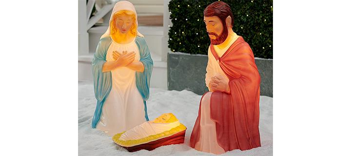 Light up 3 piece Nativity Scene Holy Family Set