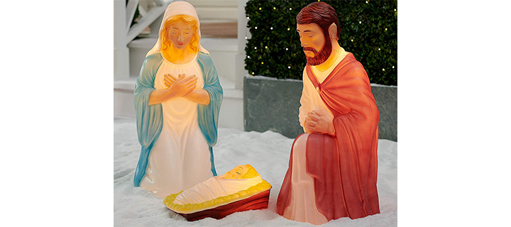 Light up 3 piece Nativity Scene Holy Family Set