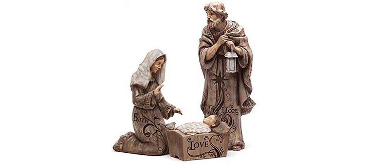 Mary, Joseph, and Baby Jesus Large Nativity Trio Outdoor Statue