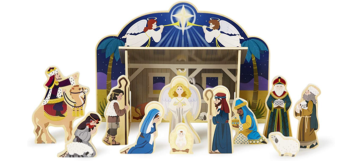 Melissa & Doug Classic Wooden Christmas Nativity Set