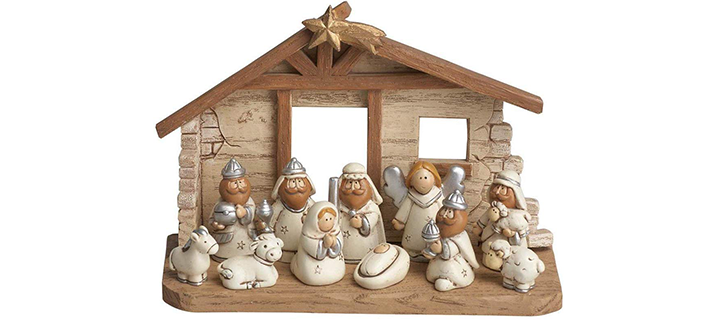 Miniature Kids Nativity Scene with Creche