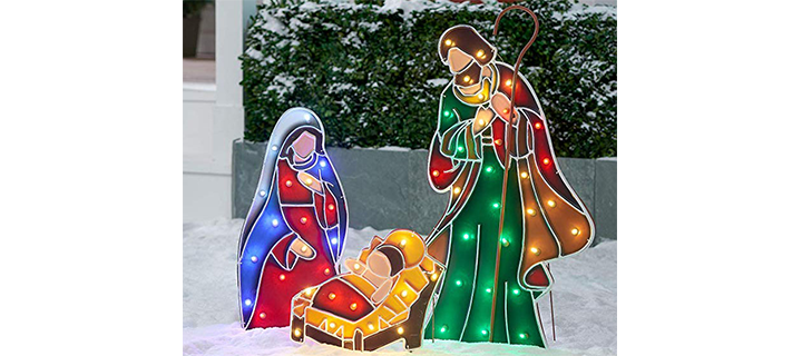 NH Beautiful and Stunning Light-up LED Outdoor 3-Piece Nativity Scene