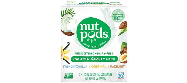 Nutpods Original, French Vanilla, and Hazelnut Unsweetened Dairy-Free Liquid Coffee Creamer