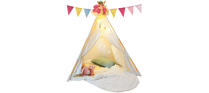 TazzToys Kids Teepee Tents with Fairy Lights