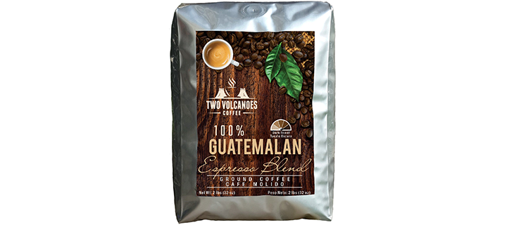 Two Volcanoes Coffee Dark Roast Ground Coffee